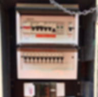 Switchboard AFTER. Asbestos removed, Fuses changed for RCBO's. Made safe and easy to use