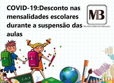 COVID-19: Desconto nas mensalidades escolares durante a suspensão das aulas