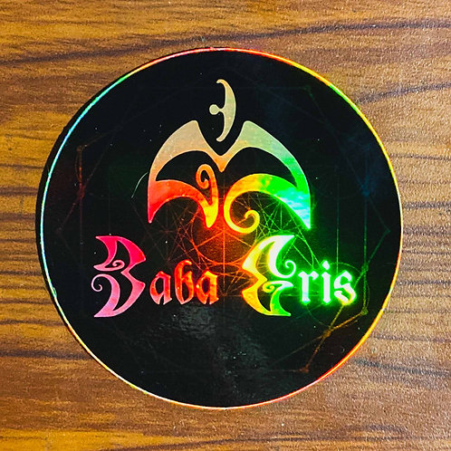 "Baba Gris Logo Black HOLO 3.5"" Sticker"