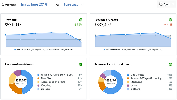 Dashboard - revenue and expense overview