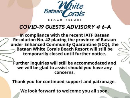 Covid-19 Guest Advisory # 6-A