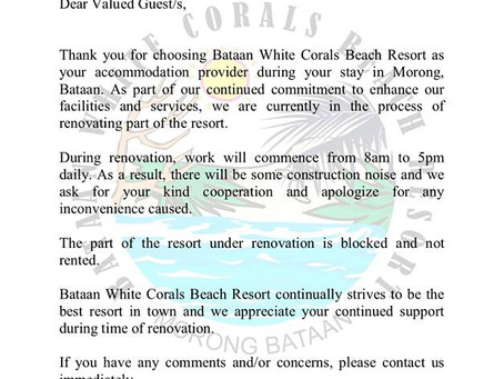 Renovation Notice