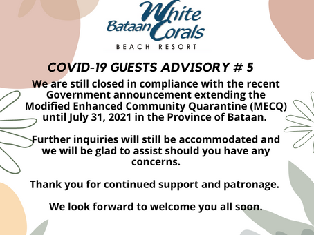Covid-19 Guest Advisory # 5