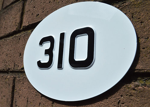 Handmade Aluminium Sign - Oval House Number