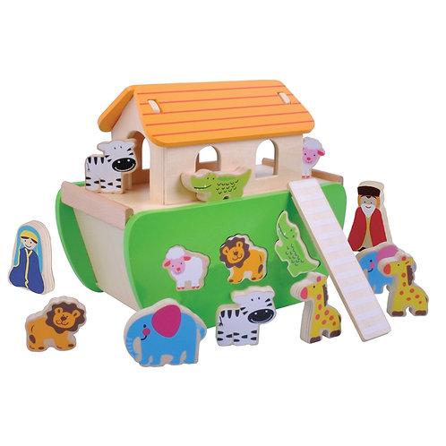 Wooden Noahs Ark Shape Sorter With Animals