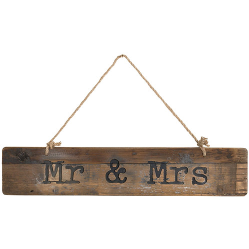 Mr & Mrs Rustic Wooden Message Plaque
