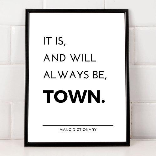Manc Dictionary Framed Print - Town