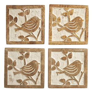 Carved Wooden Bird Coasters - Set of 4