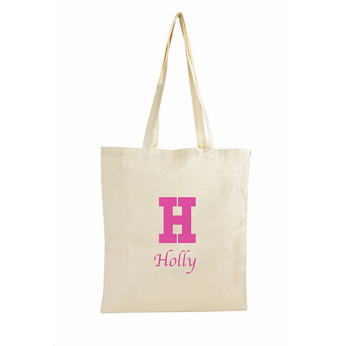 Personalised Initial Cotton Bag - Pink, Blue or Black
