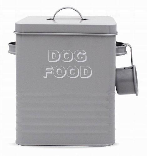 Dog Food Storage Tin - Grey