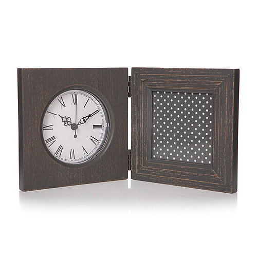 Grey Photo Frame With Clock