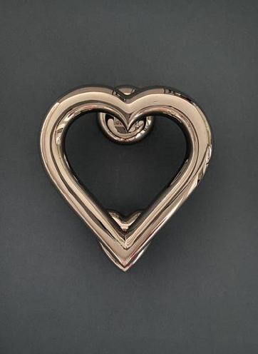 Chrome Finish Love Heart Door Knocker