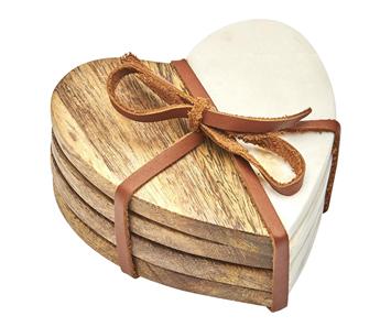 Heart Marble & Wood Coaster Set