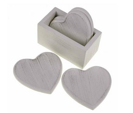 White Heart Coasters & Holder