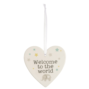 Welcome To The World Ceramic Hanging Heart