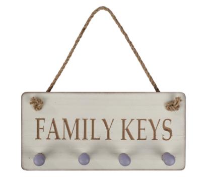 Family Keys Carved Plaque