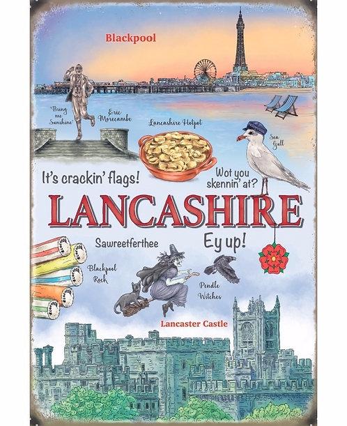 Lancashire Metal Sign 20cm