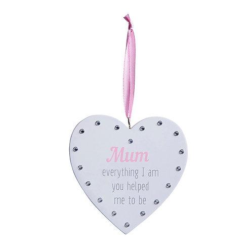 'Mum...' Diamante Heart Sign