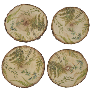Set of 4 Bark Edge Fern Coasters
