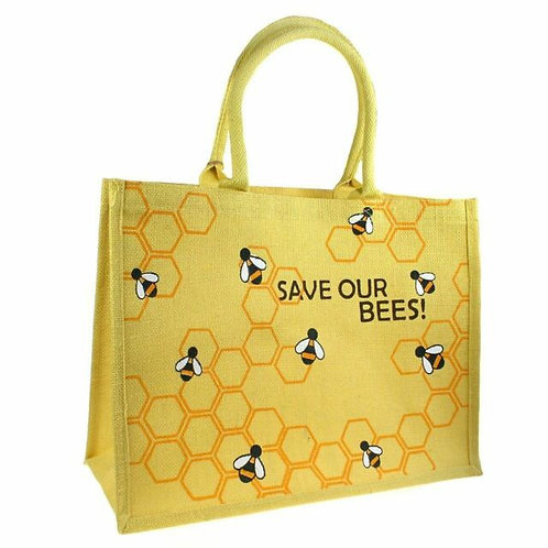 Save Our Bees Jute Shopping Bag - 42cm