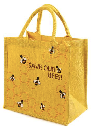 Save Our Bees Jute Shopping Bag - 30cm