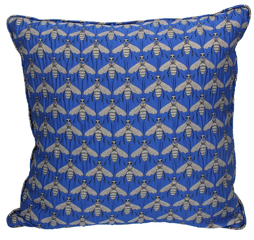 Blue Bee Jacquard Cushion