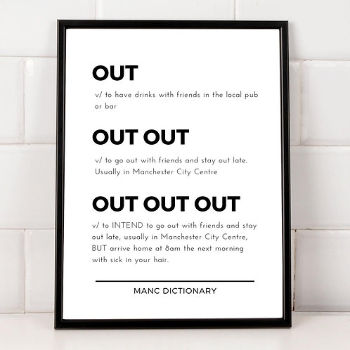 Manc Dictionary Framed Print - Out, Out, Out