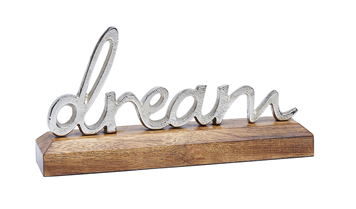 Metal Dream On Wooden Base