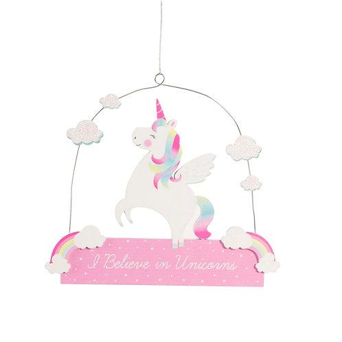 Rainbow Unicorn Hanging Plaque
