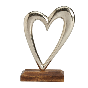 Large Metal Heart On Wooden Base