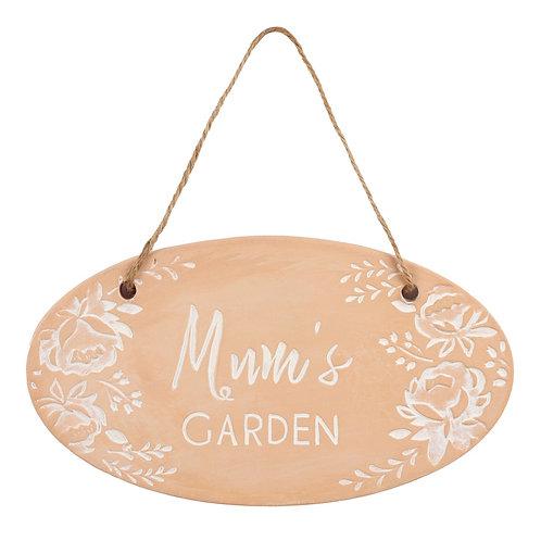 Mum's Garden Terracotta Hanging Sign