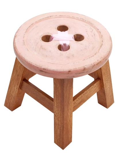 Child's Pink Button Stool