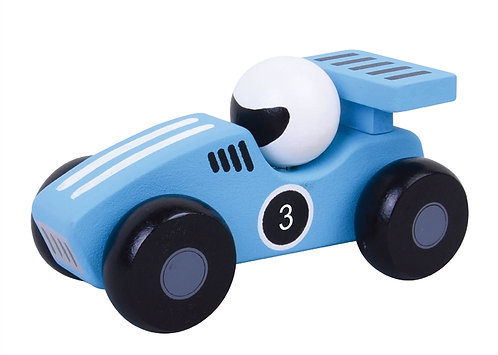 Wooden Blue Racing Car