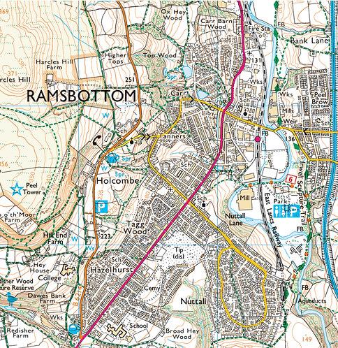 Ramsbottom Map Wooden Coaster