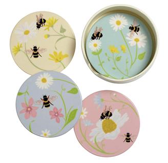 Bee Happy Ceramic Coasters