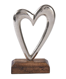 Small Metal Heart On Wooden Base