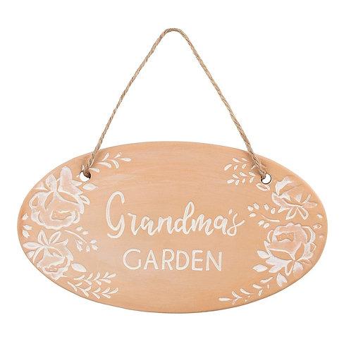 Grandma's Garden Terracotta Hanging Sign