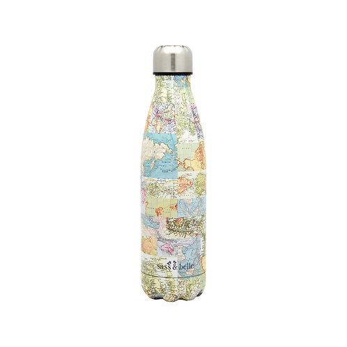 Vintage Map Metal Water Bottle