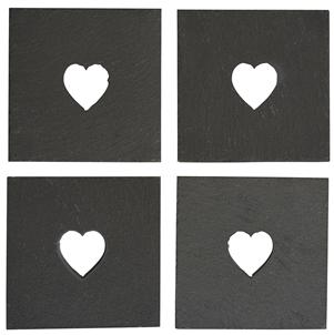 Slate Heart Coasters - Set Of 4