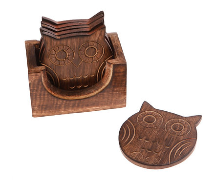 Wooden Owl Coasters - Set of 6