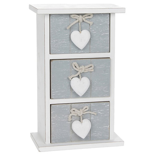 Grey Wooden Three Drawer Chest