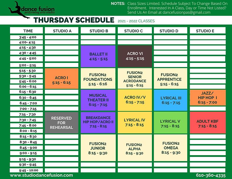 Thursday Schedule DFPAS 21-22