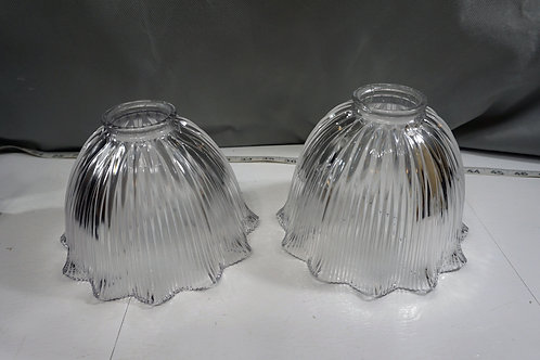 Pair Holophane Ribbed Prismatic Glass Shades