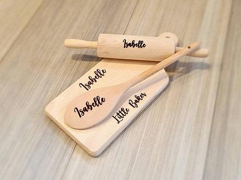 Children's Personalised Wooden Baking Set