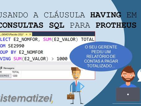 Usando a cláusula Having no Microsoft Sql Server/T-SQL