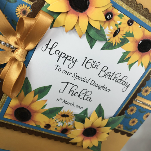 Sunflower 16th birthday card