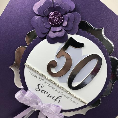 Purple 50th birthday card