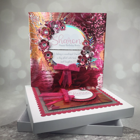 Pink and orange mettalic floral card