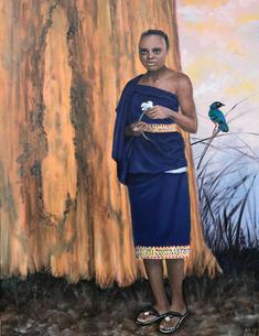 Maasai Woman with Baobab and Superb Star