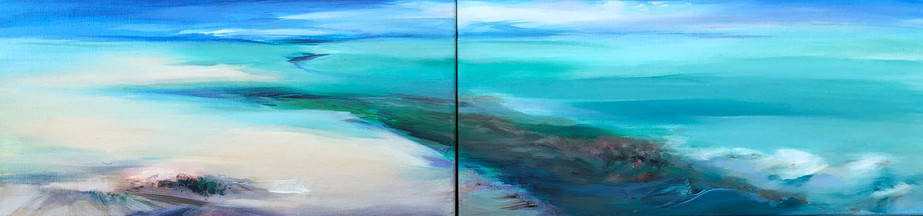Tropical Shore diptych